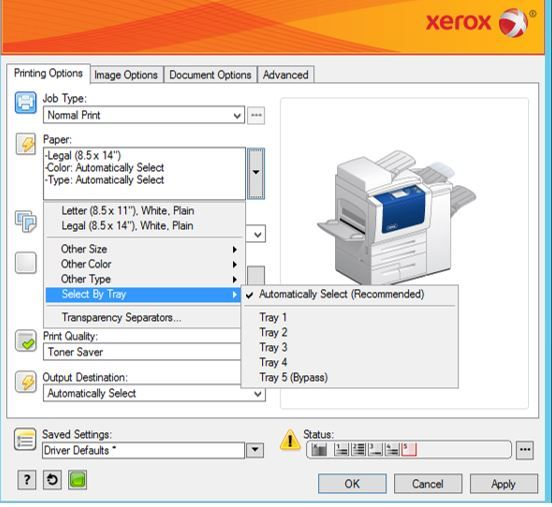 how to choose which tray to print from xerox