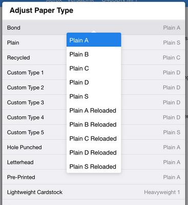 The Adjust Paper Type window