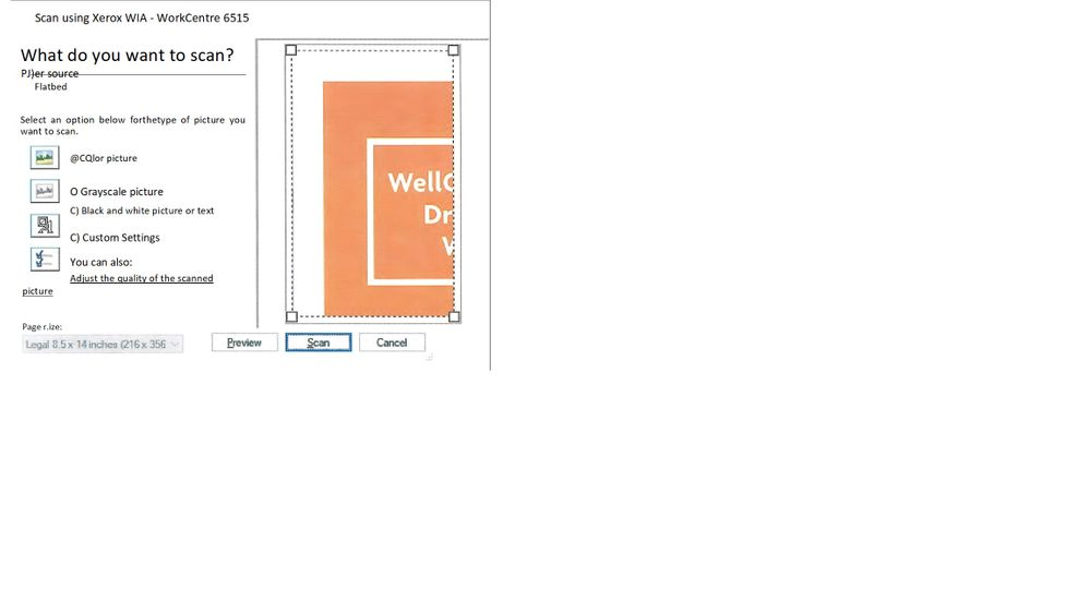 wia preview not usable