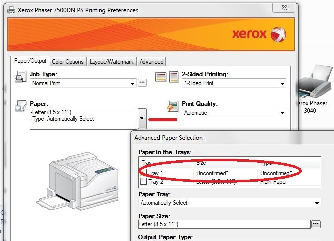 7500dx Automatic Tray Selection Won T Work Customer Support Forum