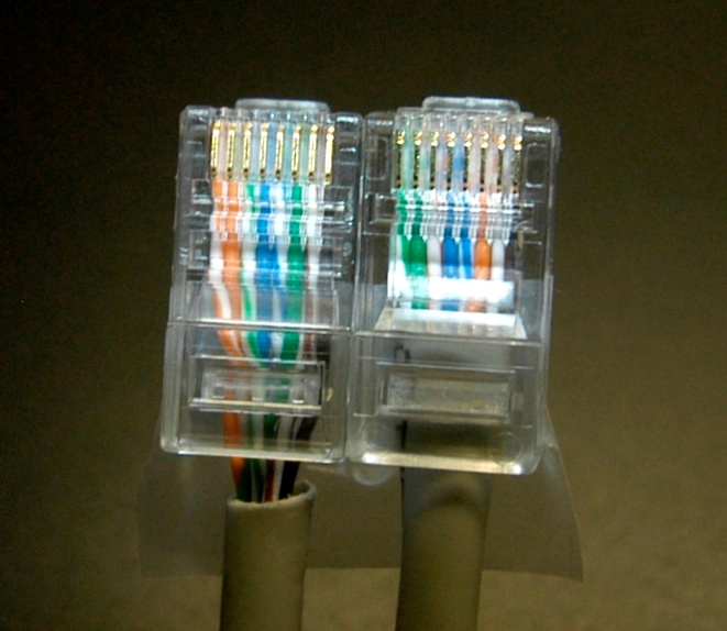 Close up of homemade crossover cable