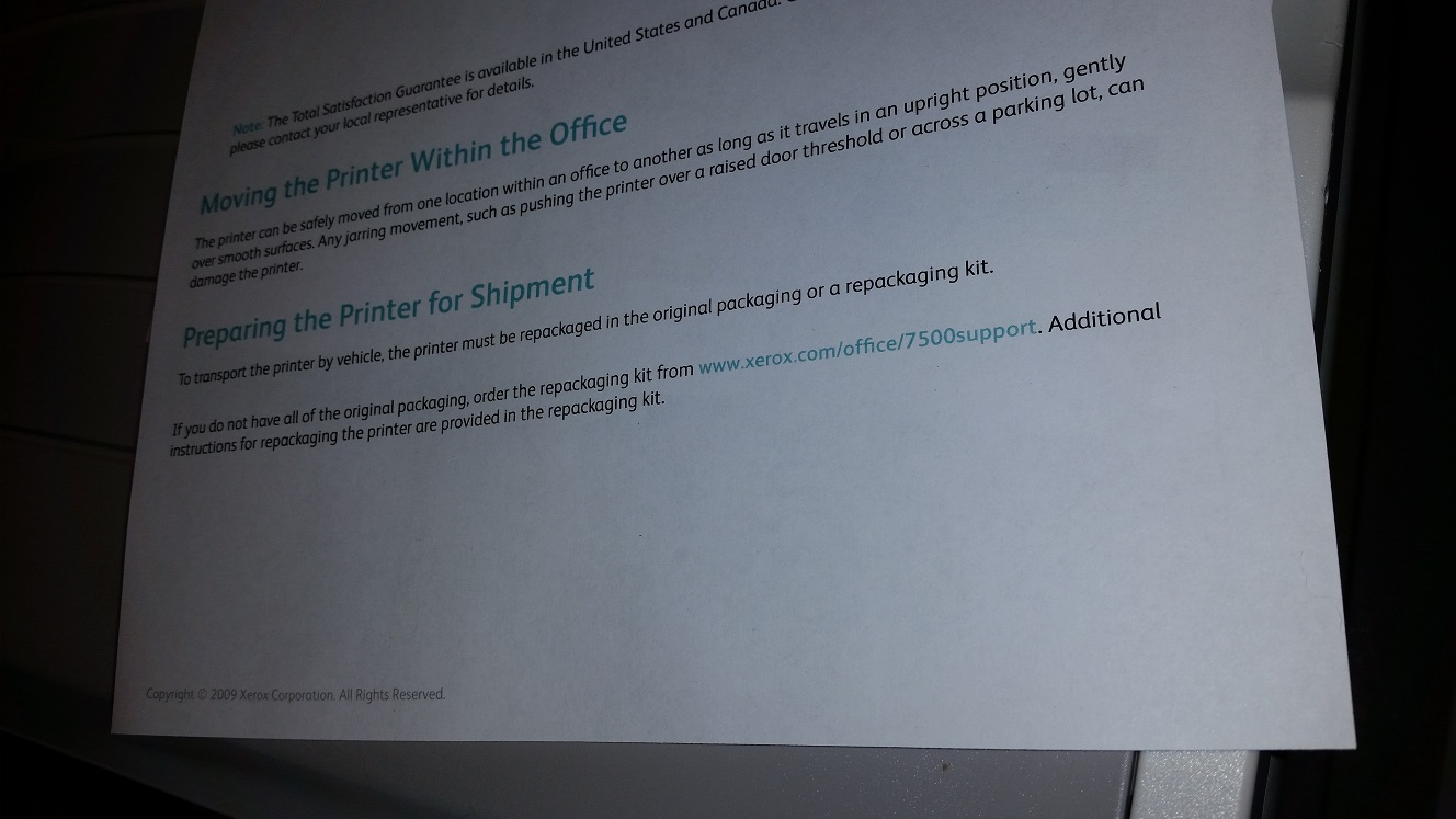 Solved Phaser 7500 Line Of Color Across All Printed Pag