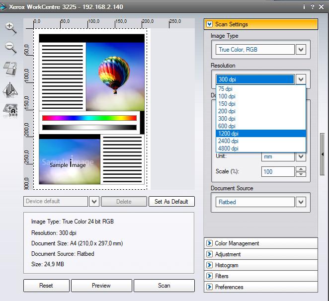 Xerox WorkCentre 3225 scanning resolution - Customer Support