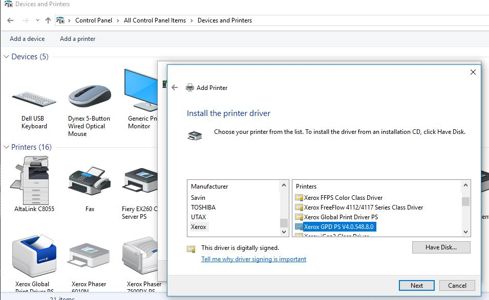 Problems with PS global print driver and windows 1    - Customer