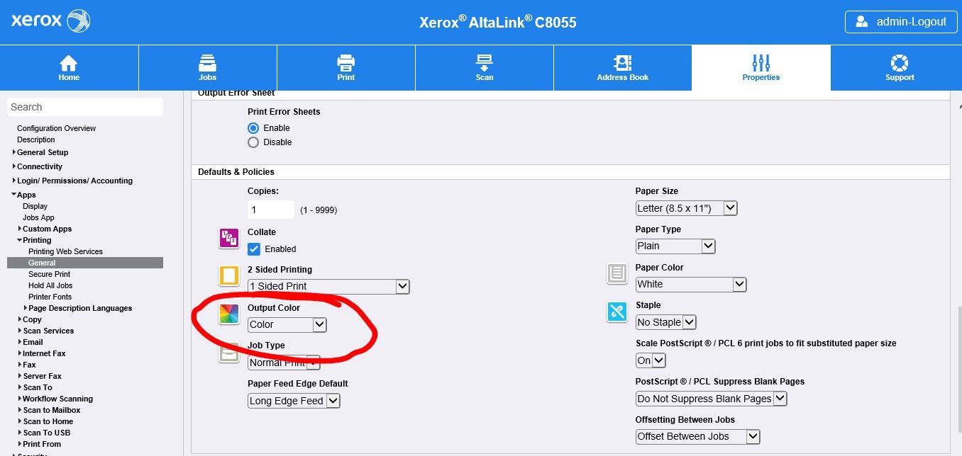 ALTALINK C8055 - Configuration / Black and White - Customer