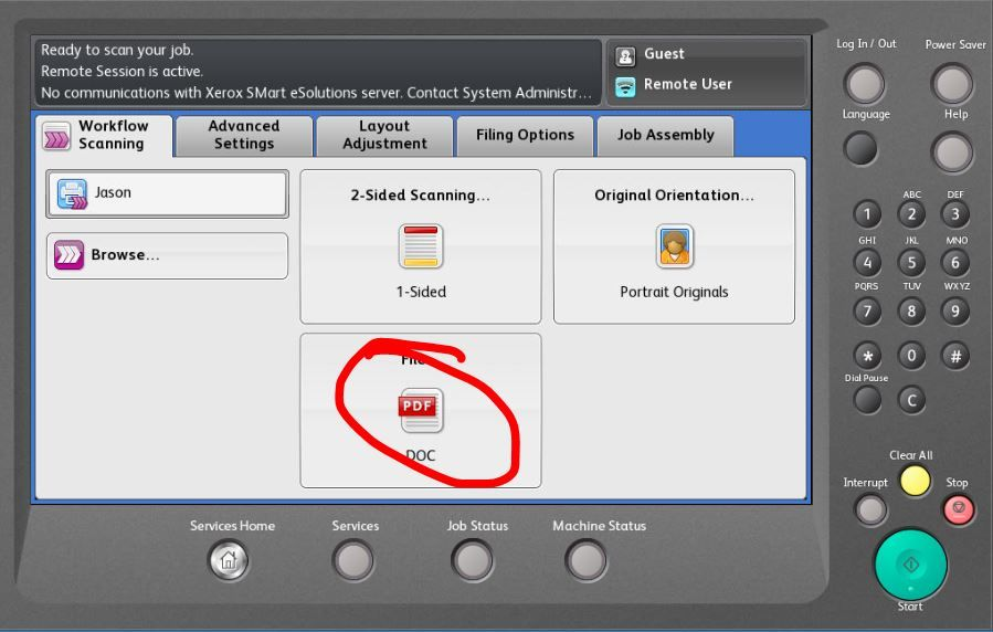 Scanning multi page documents to individual pdfs  - Customer