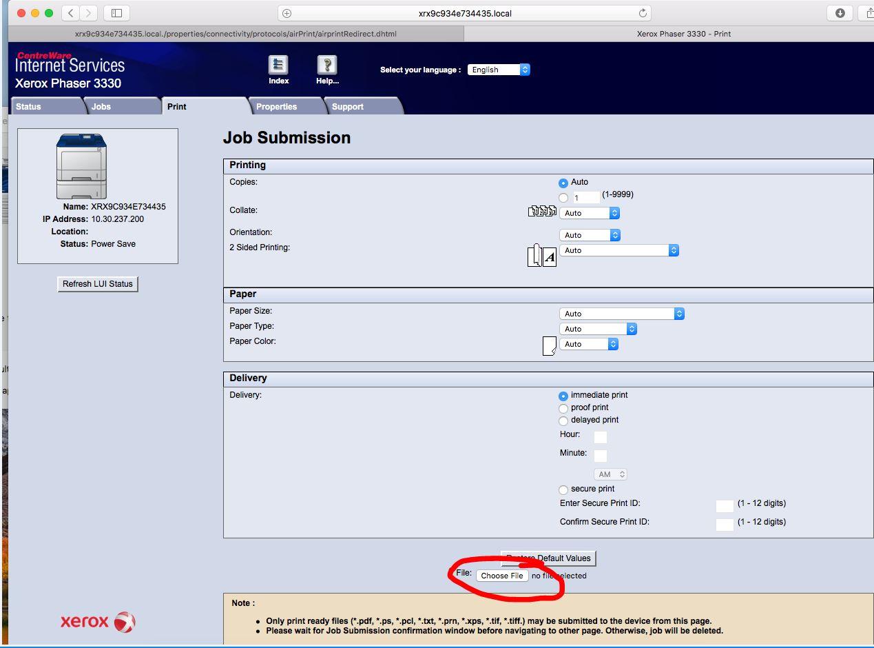 Can't set up Xerox Phaser 3330 on Mac High Sierra - Customer