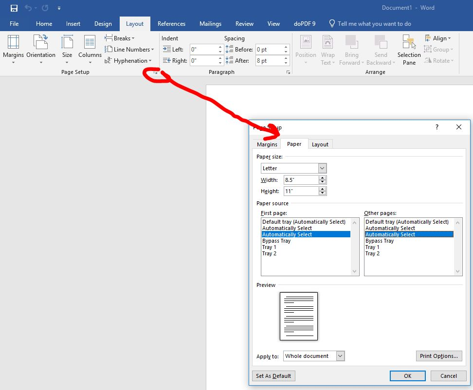 not auto selecting paper trays and returning to or
