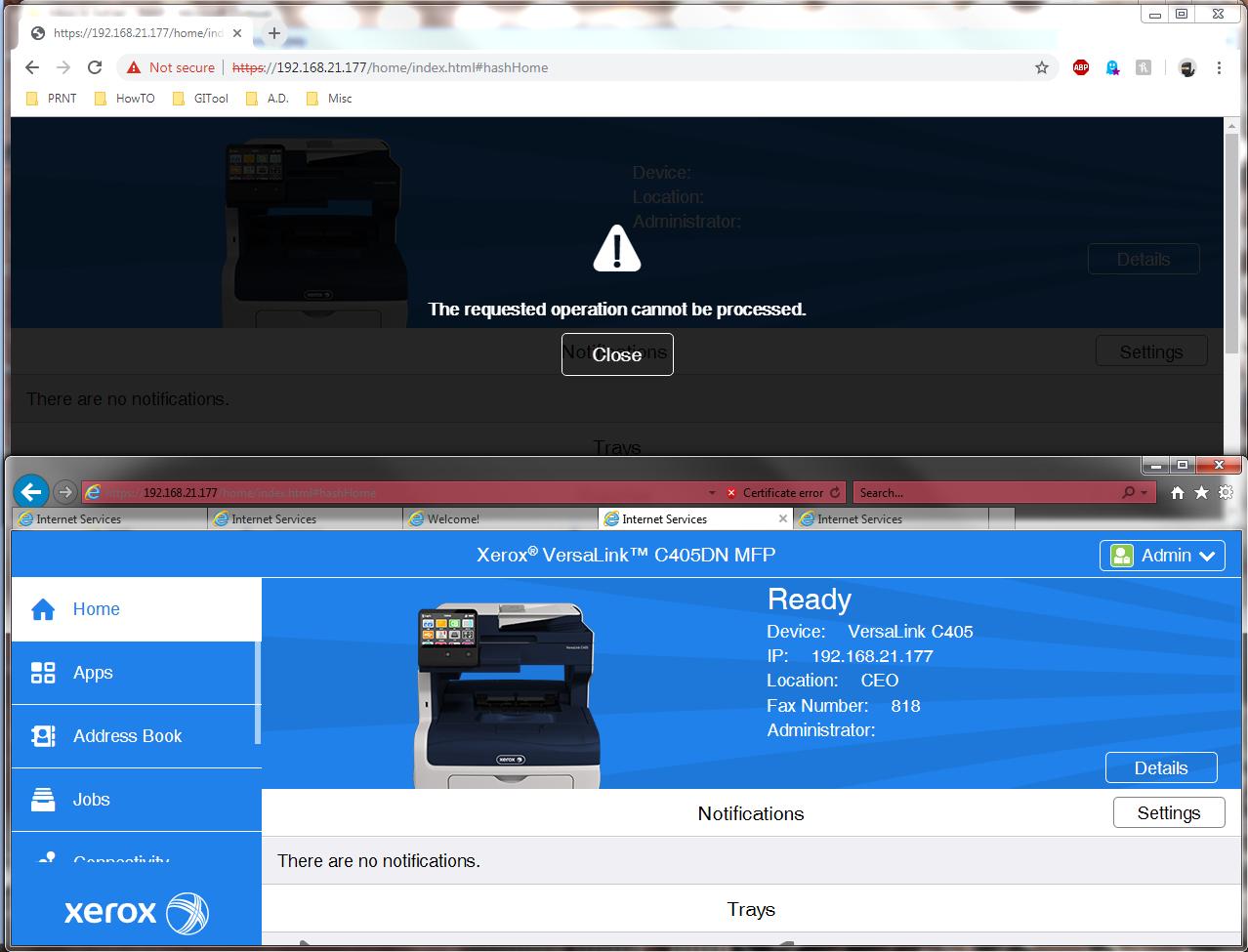 Solved: Versalink C405, B405, B605 error on Chrome - The R