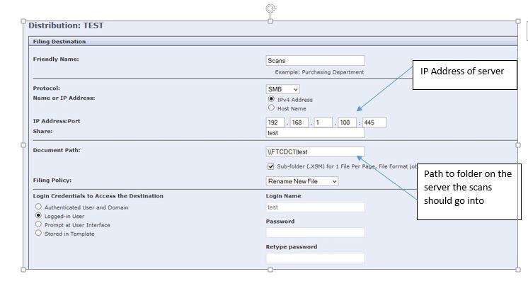 Solved: WorkCentre 7225 scanning to folder on a server