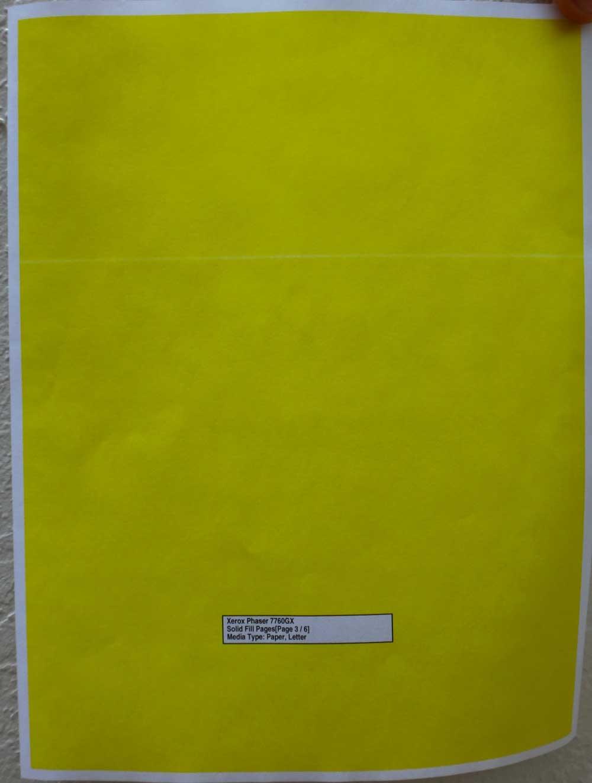 Phaser 7760 Light Streak accross yellow fill page - Customer