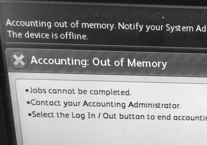 Accounting out of memory error