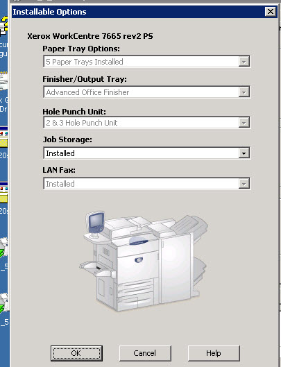 xerox workcentre 7665 hole punch option disappears
