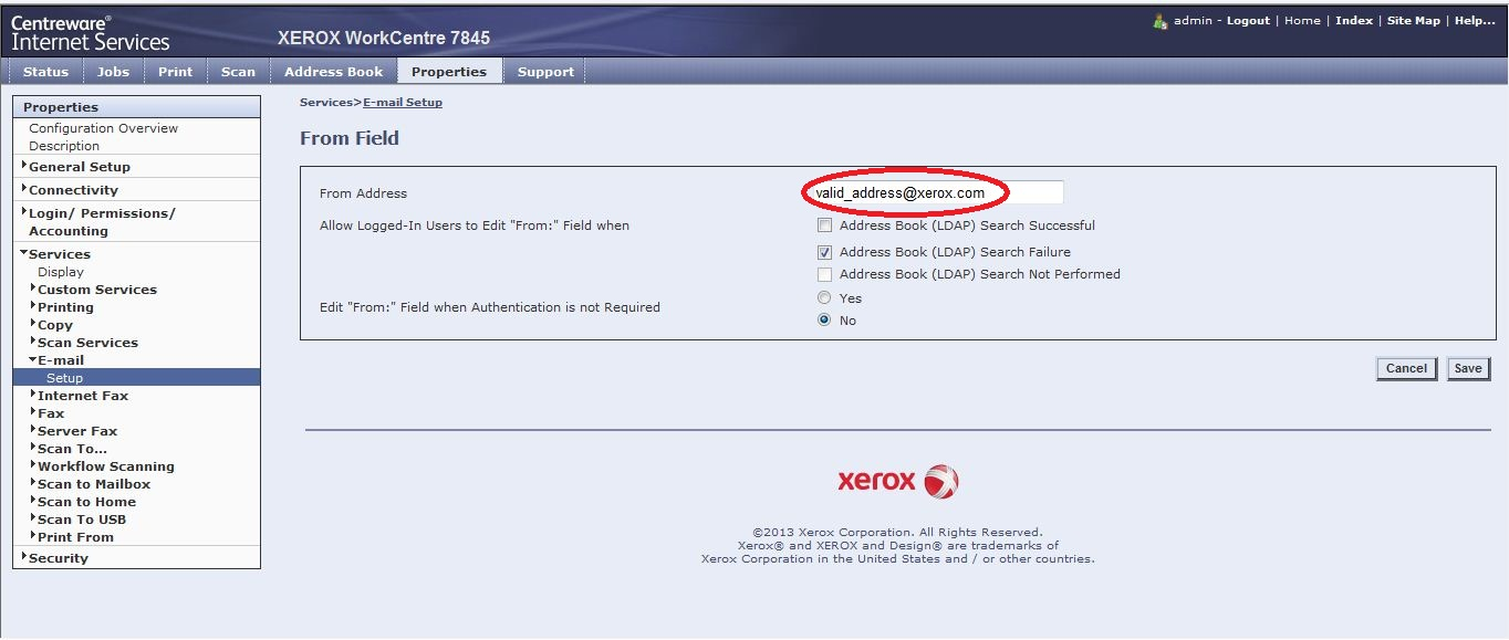 Solved: Xerox 7845 not sending scan to email - Customer