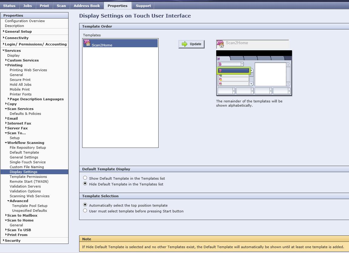 Xerox WorkCentre 7855 - Hide Default template in t    - Customer