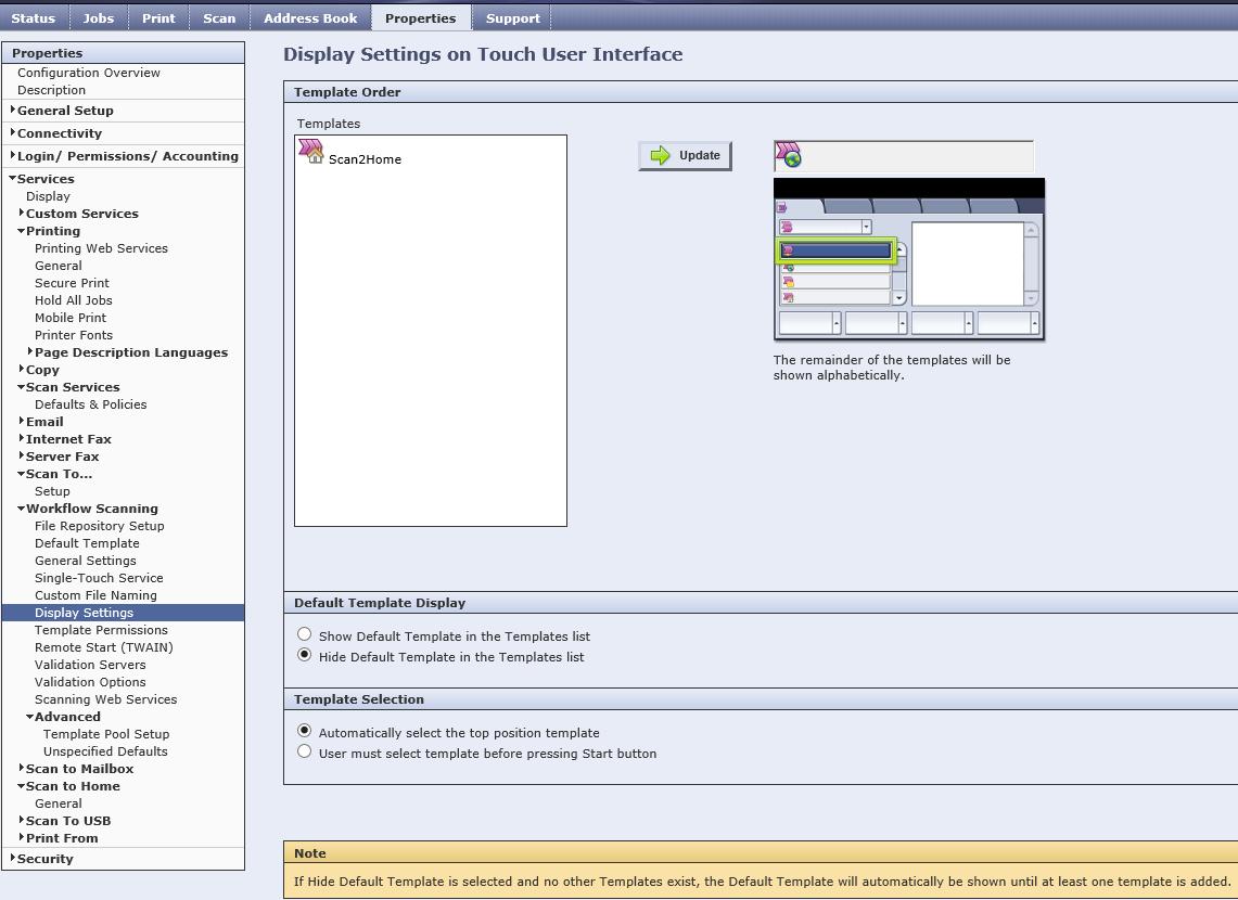 xerox workcentre 7855 - hide default template in t