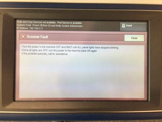 Xerox 7545 - Scanner Fault - Fault Code 362 476 00