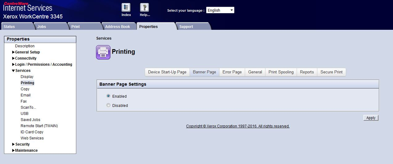 Solved: WorkCentre 3335/3345 how to disable banner sheet
